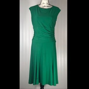 American Living Fit Flare Green Midi Stretch Dress